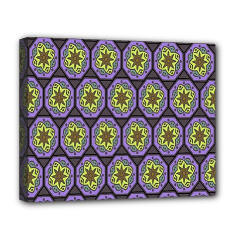 Background Colour Star Flower Purple Yellow Deluxe Canvas 20  X 16   by AnjaniArt