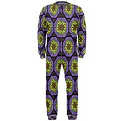Background Colour Star Flower Purple Yellow Onepiece Jumpsuit (men)  by AnjaniArt