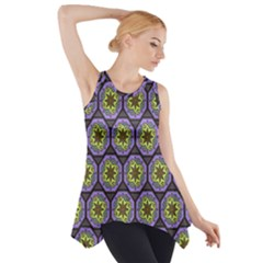 Background Colour Star Flower Purple Yellow Side Drop Tank Tunic