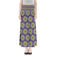 Background Colour Star Flower Purple Yellow Maxi Skirts