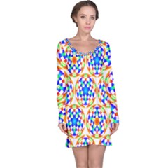 Background Colour Circle Rainbow Long Sleeve Nightdress