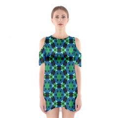 Background Star Colour Green Blue Shoulder Cutout One Piece