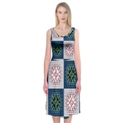 Background Colour Flower Box Midi Sleeveless Dress by AnjaniArt