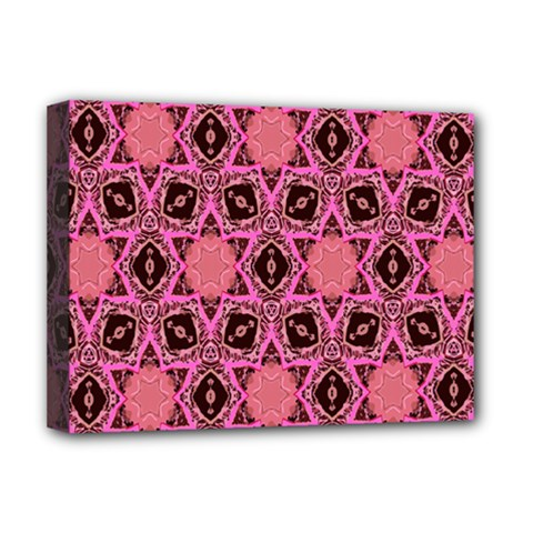 Background Colour Star Pink Flower Deluxe Canvas 16  X 12   by AnjaniArt