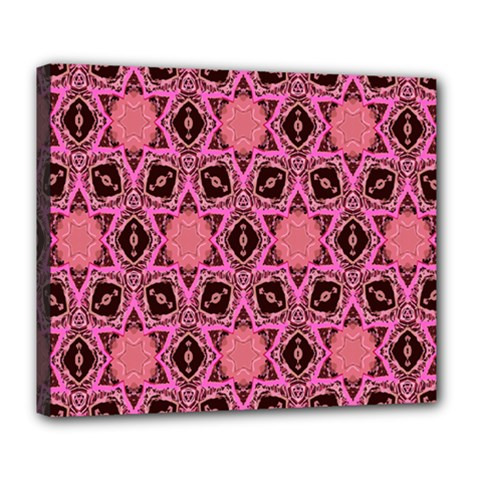Background Colour Star Pink Flower Deluxe Canvas 24  X 20   by AnjaniArt