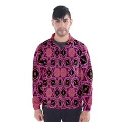 Background Colour Star Pink Flower Wind Breaker (men)