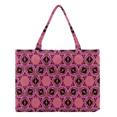 Background Colour Star Pink Flower Medium Tote Bag by AnjaniArt