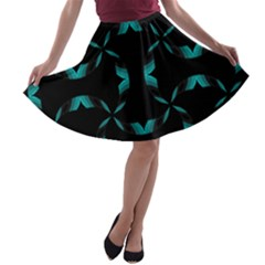 Background Wave Blue A Line Skater Skirt