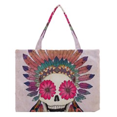 Tribal Hipster Colorful Skull Medium Tote Bag by Brittlevirginclothing