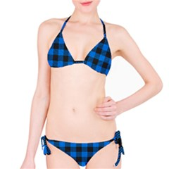 Black Blue Check Woven Fabric Bikini Set