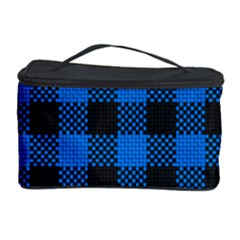Black Blue Check Woven Fabric Cosmetic Storage Case by AnjaniArt