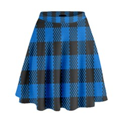Black Blue Check Woven Fabric High Waist Skirt by AnjaniArt
