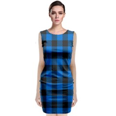Black Blue Check Woven Fabric Sleeveless Velvet Midi Dress