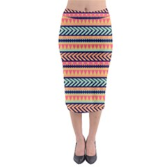 Chevron Wave Midi Pencil Skirt by AnjaniArt