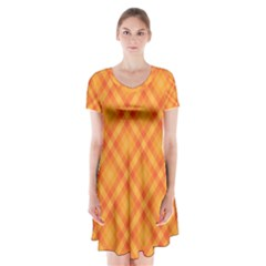 Clipart Orange Gingham Checkered Background Short Sleeve V-neck Flare Dress by AnjaniArt