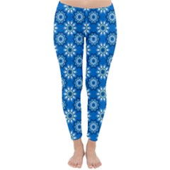 Blue Flower Clipart Floral Background Classic Winter Leggings
