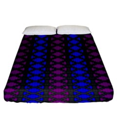Diamond Alt Blue Purple Woven Fabric Fitted Sheet (king Size) by AnjaniArt
