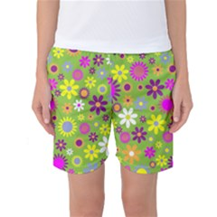 Colorful Floral Flower Women s Basketball Shorts