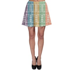 Digital Print Scrapbook Flower Leaf Color Green Red Purple Yellow Blue Pink Black Brown Skater Skirt by AnjaniArt