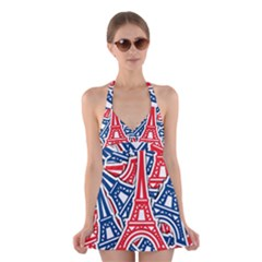 Eiffel Tower Paris Perancis Halter Swimsuit Dress
