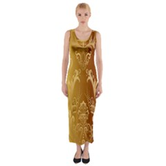 Golden Flower Vintage Gradient Resolution Fitted Maxi Dress