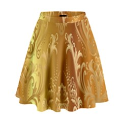 Golden Flower Vintage Gradient Resolution High Waist Skirt by AnjaniArt