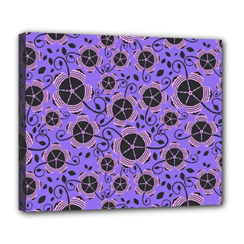 Flower Floral Purple Leaf Background Deluxe Canvas 24  X 20