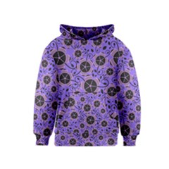 Flower Floral Purple Leaf Background Kids  Pullover Hoodie by AnjaniArt