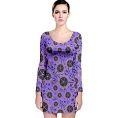 Flower Floral Purple Leaf Background Long Sleeve Velvet Bodycon Dress by AnjaniArt