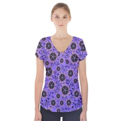 Flower Floral Purple Leaf Background Short Sleeve Front Detail Top by AnjaniArt
