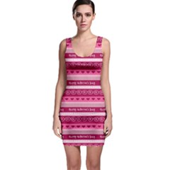 Happy Valentine Day Love Heart Pink Red Chevron Wave Sleeveless Bodycon Dress by AnjaniArt