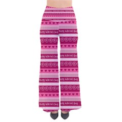 Happy Valentine Day Love Heart Pink Red Chevron Wave Pants by AnjaniArt