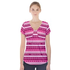 Happy Valentine Day Love Heart Pink Red Chevron Wave Short Sleeve Front Detail Top by AnjaniArt