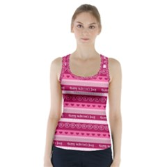 Happy Valentine Day Love Heart Pink Red Chevron Wave Racer Back Sports Top by AnjaniArt
