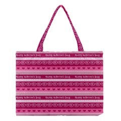 Happy Valentine Day Love Heart Pink Red Chevron Wave Medium Tote Bag
