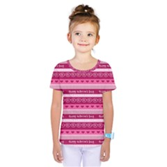 Happy Valentine Day Love Heart Pink Red Chevron Wave Kids  One Piece Tee by AnjaniArt