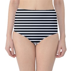Horizontal Stripes Black High Waist Bikini Bottoms