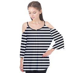 Horizontal Stripes Black Flutter Tees