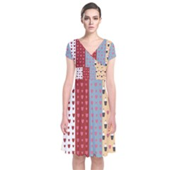 Love Heart Cake Valentine Red Gray Blue Pink Short Sleeve Front Wrap Dress
