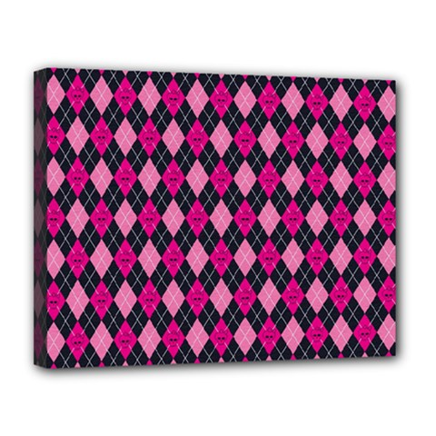Pink Baby Showers Skull Chevron Wave Pink Purple Black Pink Canvas 14  X 11