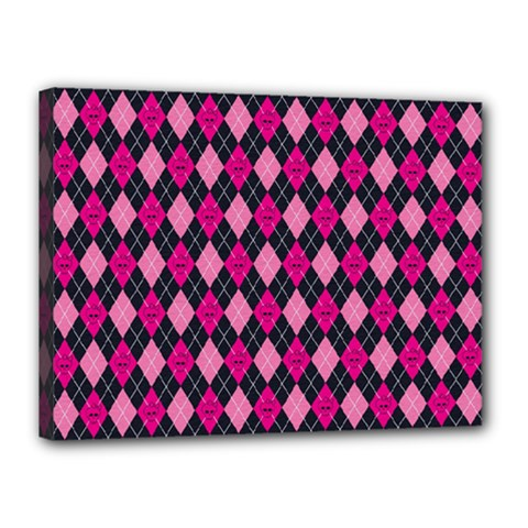 Pink Baby Showers Skull Chevron Wave Pink Purple Black Pink Canvas 16  X 12  by AnjaniArt