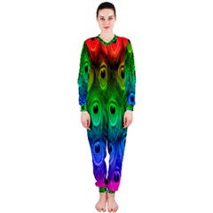 Peacock Feathers Rainbow Onepiece Jumpsuit (ladies)