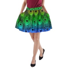 Peacock Feathers Rainbow A Line Pocket Skirt