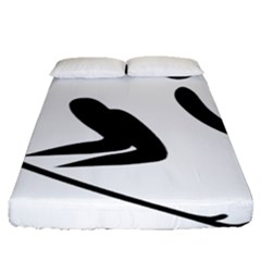 Alpine Skiing Pictogram  Fitted Sheet (queen Size) by abbeyz71