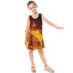 Ablaze Abstract Afire Aflame Blaze Kids  Sleeveless Dress by Amaryn4rt