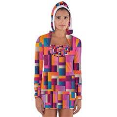 Abstract Background Geometry Blocks Women s Long Sleeve Hooded T Shirt by Amaryn4rt