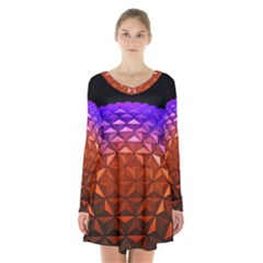 Abstract Ball Colorful Colors Long Sleeve Velvet V Neck Dress