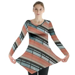 Architecture Building Glass Pattern Long Sleeve Tunic