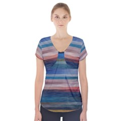 Background Horizontal Lines Short Sleeve Front Detail Top by Amaryn4rt
