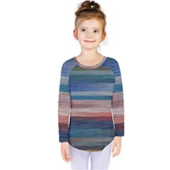 Background Horizontal Lines Kids  Long Sleeve Tee by Amaryn4rt